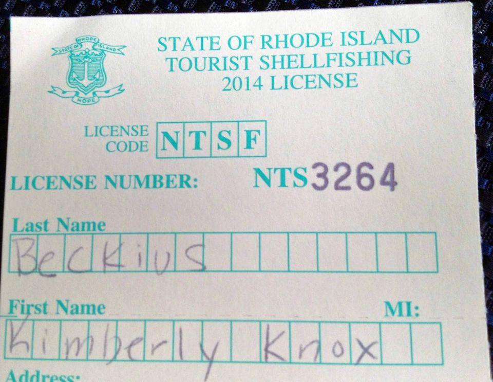 RI Shellfishing License