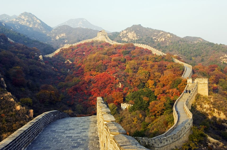 China, Beijing, The Great Wall of China at Badaling near Beijing. Autumn colours cover the mountains around the Great Wall.