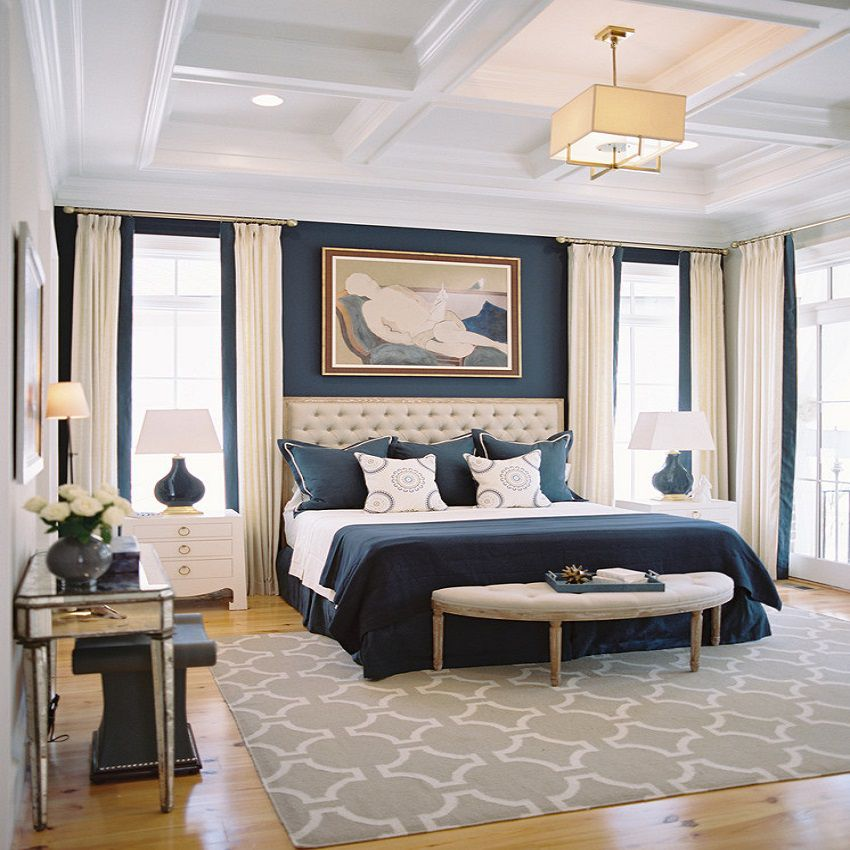 Master Bedroom Interior Design Ideas wow master bedroom interior design 13 on designer bedrooms with master bedroom interior design master Elegant Navy Blue And Cream Bedroom Steven Ford Interiors If You Thought A Small