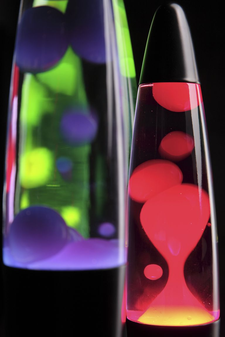 Close-up of colorful lava lamps