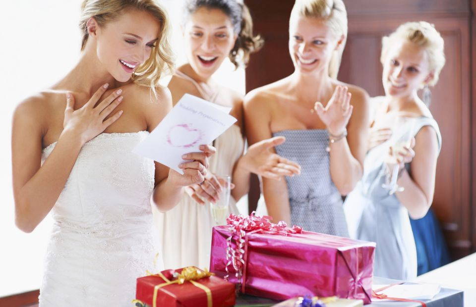 bride opening gifts