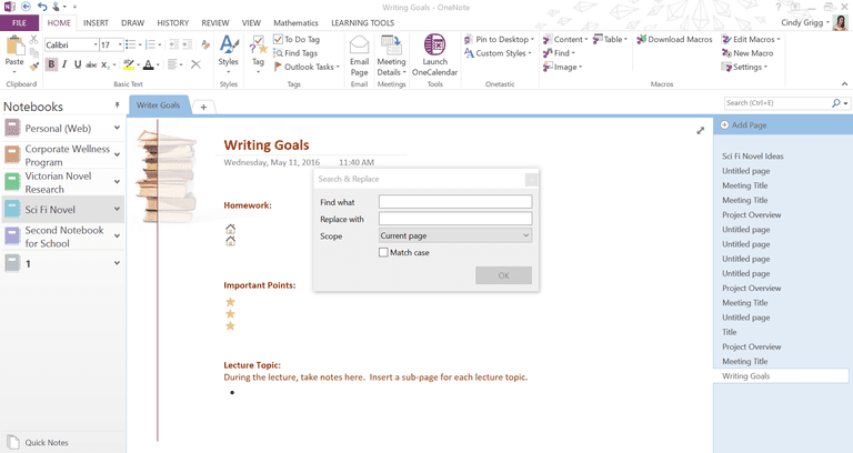 Onetastic Add-in Find and Replace for OneNote