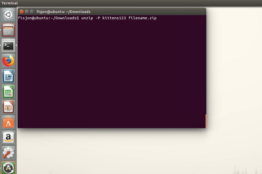 Screenshot of the unzip command used with the -p switch in Ubuntu