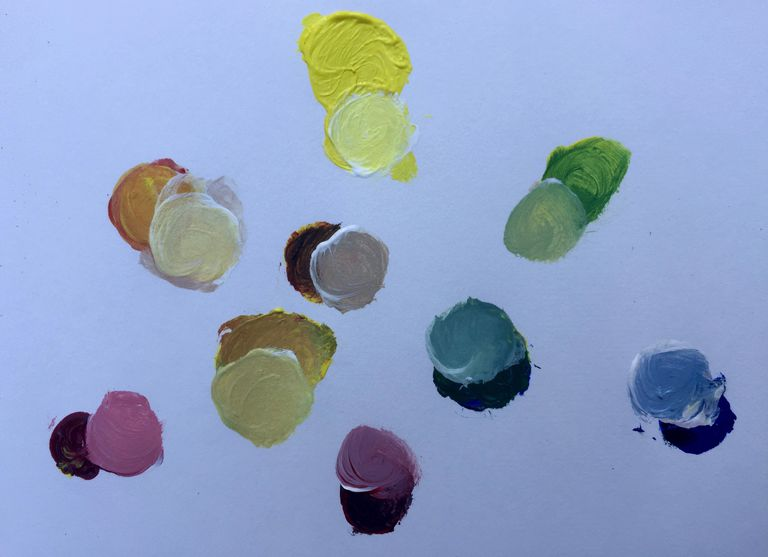Limited color palette of Lemon Yellow, Alizarin Crimson, Cobalt Blue with tints and neutral hues
