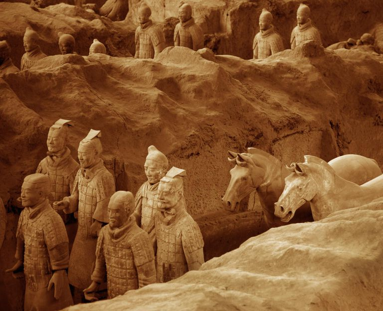 Buried clay terra cotta warriors.