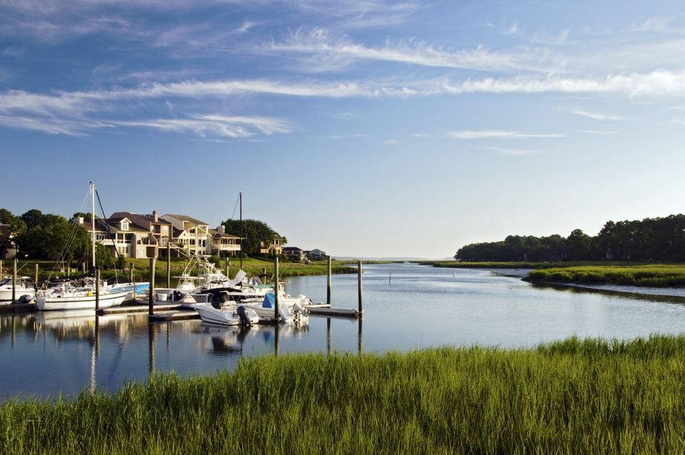 The entrance to South Beach Marina in the summer at high tide on Hilton Head Island, SC.