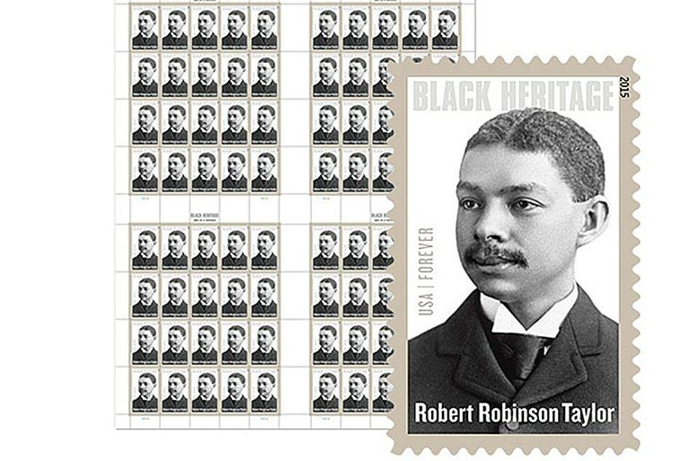 U.S. postal stamps with the image of a black man