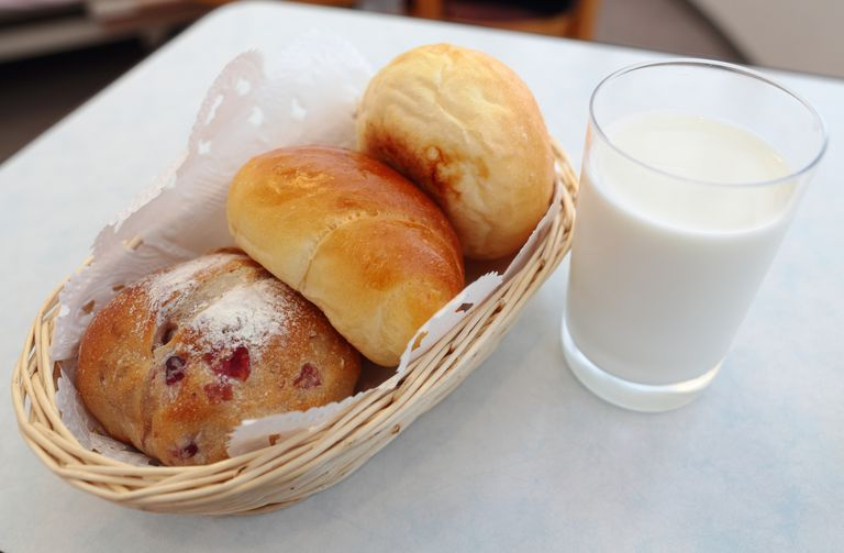 Baked goods and milk.