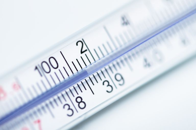 Galinstan thermometer showing elevated body temperature