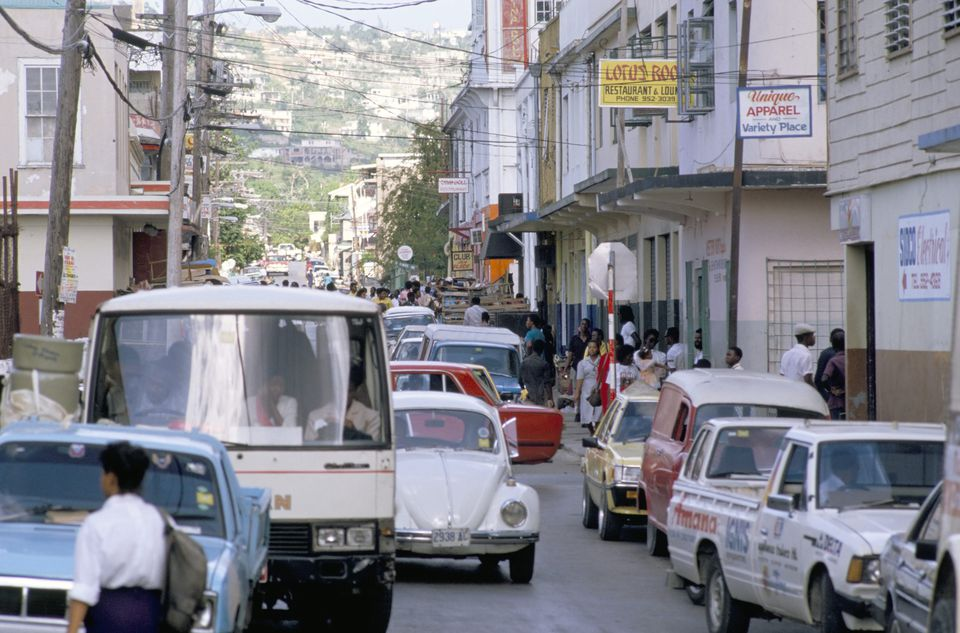 Traffic in town street, Montego Bay, Jamaica, West Indies, Caribbean, Central America