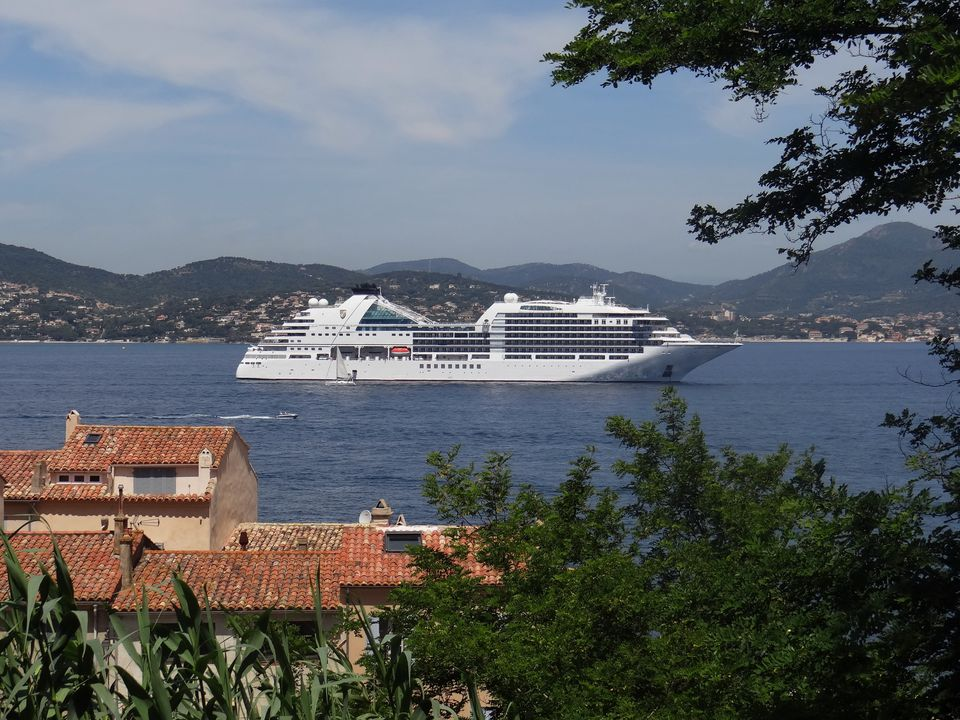 Seabourn Encore at anchor off St. Tropez in the Mediterranean