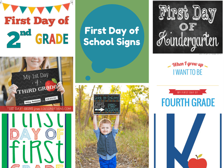 A collection of various First Day of School signs.