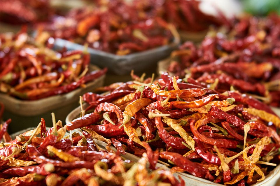 Close-Up Of Dry Red Chili Peppers For Sale