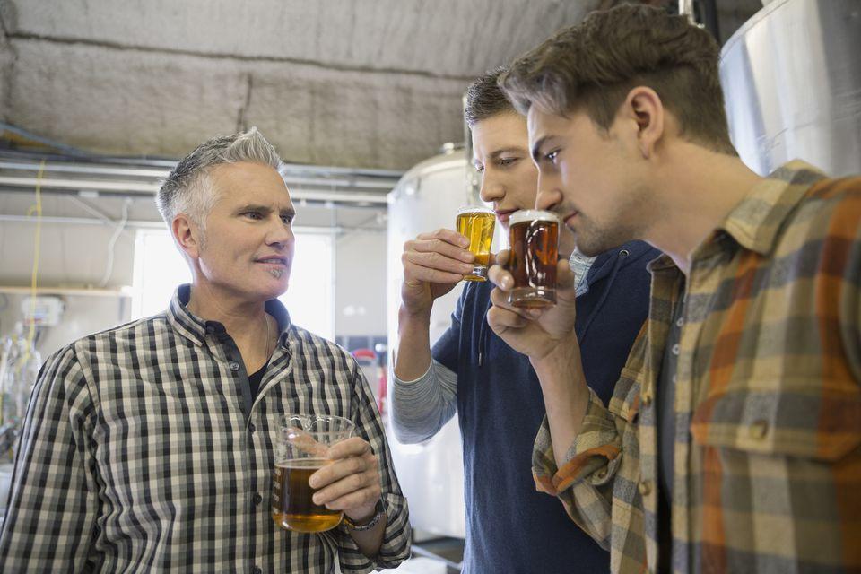 Beer tasting at brewery