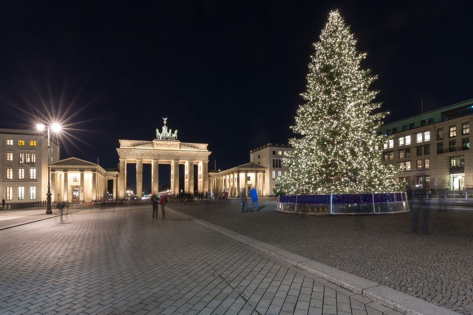 Brandenburg Gate with christmas tree at night (Berlin, Germany)