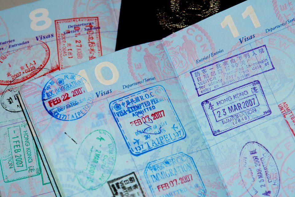 Passport stamps on a US passport
