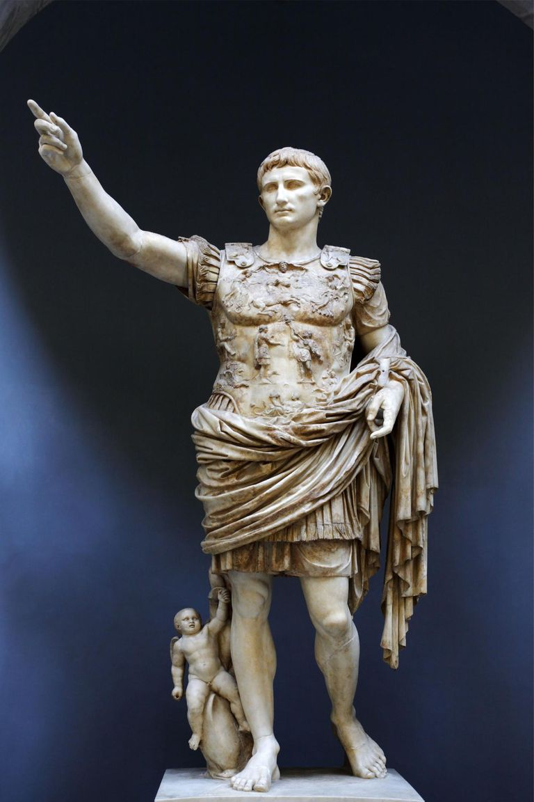 The Prima Porta Augustus displayed in the Braccio Nuovo (New Wing) of Museo Chiaramonti, Vatican Museums, Rome, Italy