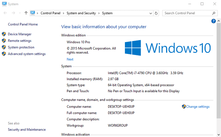 Screenshot of the System window in Windows 10