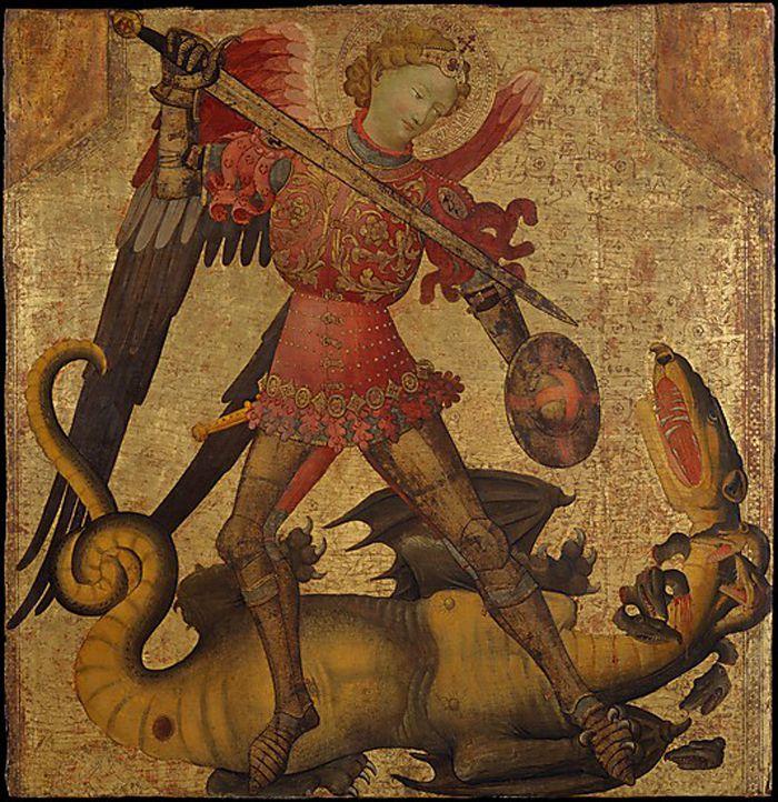Esta pintura de San Miguel y el dragón, por un pintor español de Valencia, data del siglo 15 y se encuentra en el Museo Metropolitano de Arte de Nueva York. En ella se ve al arcángel San Miguel en su papel de jefe de los ejércitos de Dios.