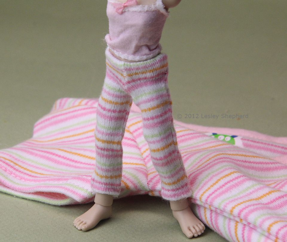 Doll leggings made from a knit baby shirt or onesie.
