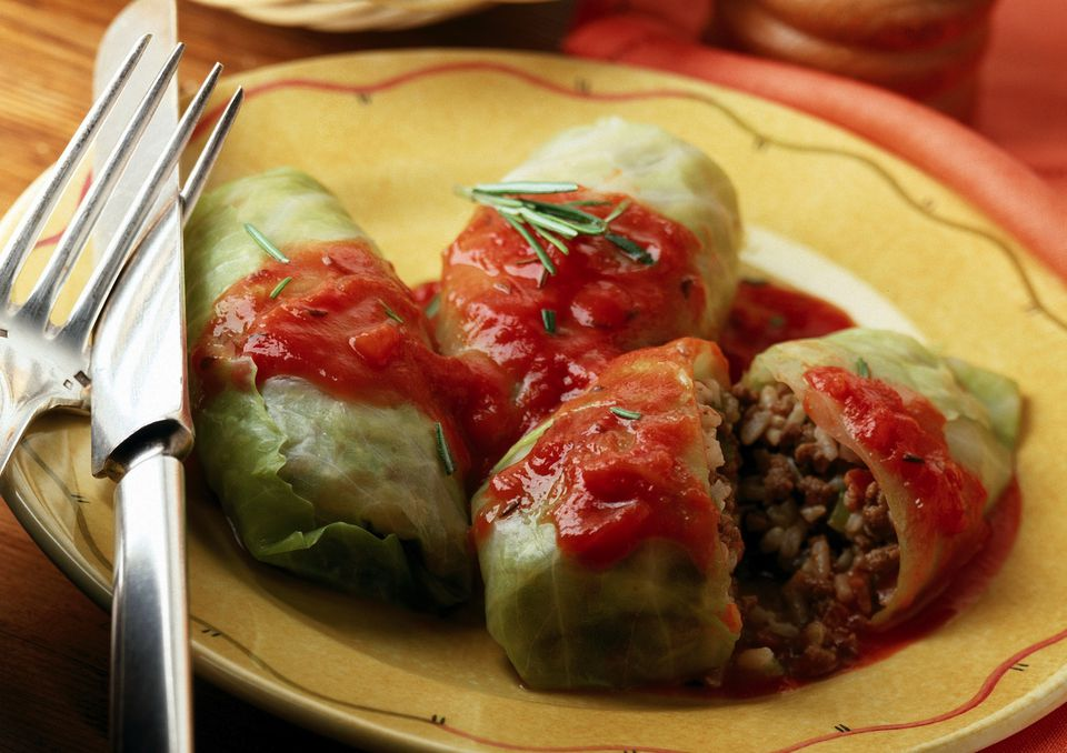 Stuffed cabbage with ground beef