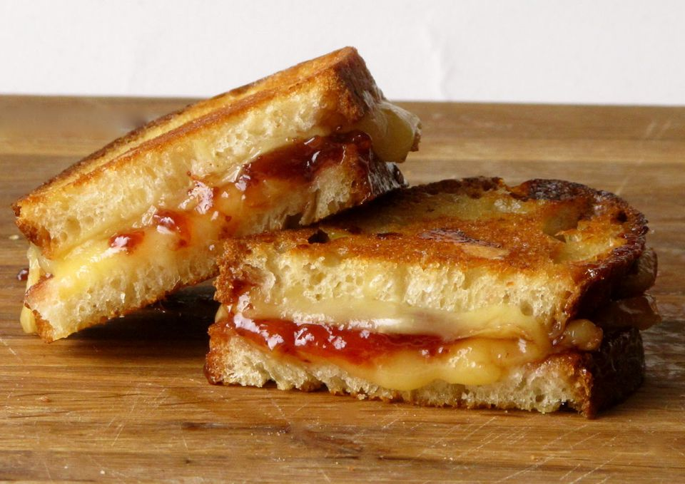 Grilled Cheese with Smoked Polish Oscypek Cheese + Strawberry Jam