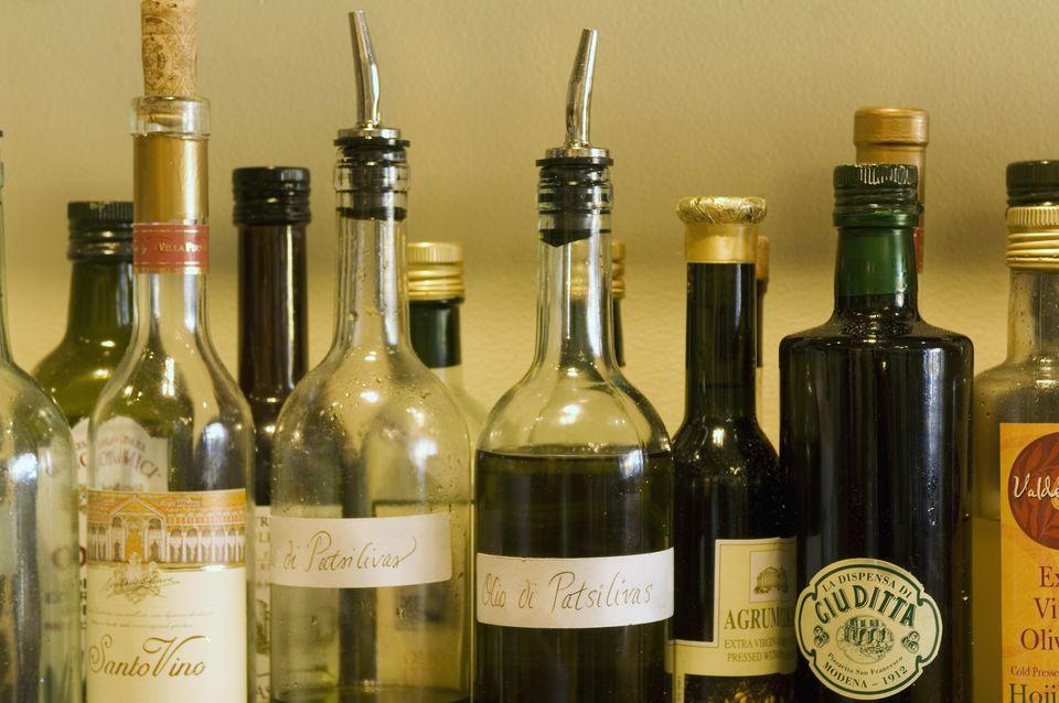 Assorted olive oil and balsamic vinegar bottles