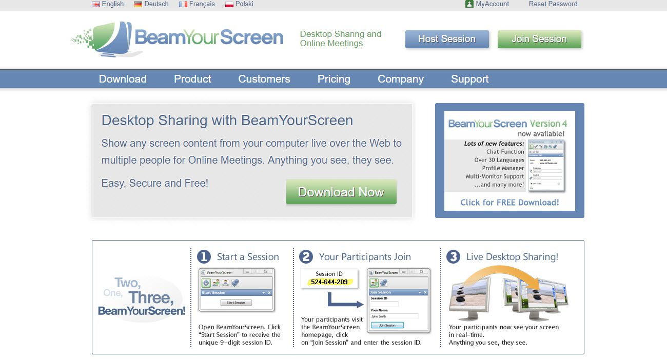 Screenshot of the BeamYourScreen website.