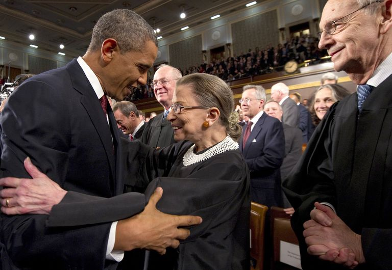 Supreme Court Justice Ruth Bader Ginsburg greeting Barack Obama
