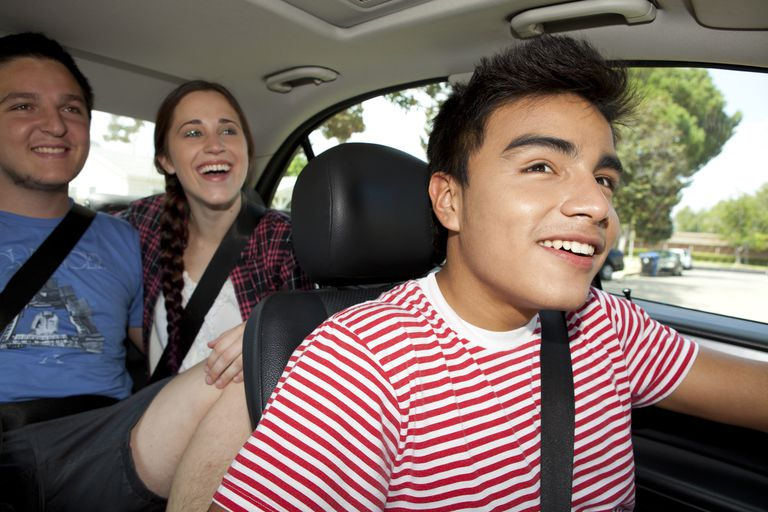 Teen driving with friends