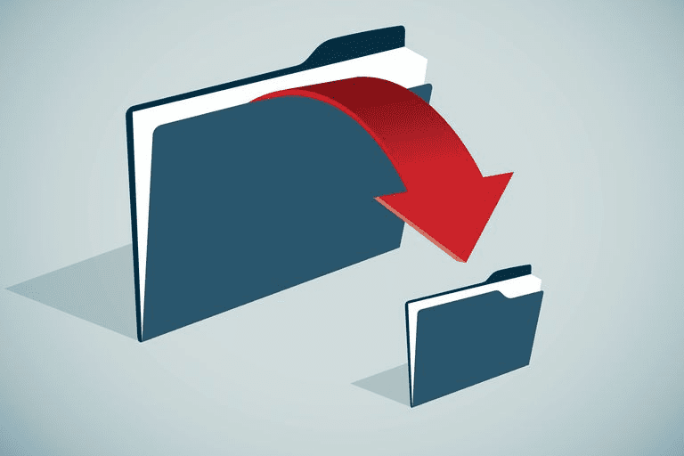 Illustration of a file being copied from one folder to another