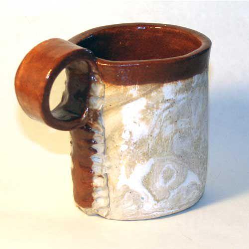 A slab-built pottery mug created by Beth Peterson.