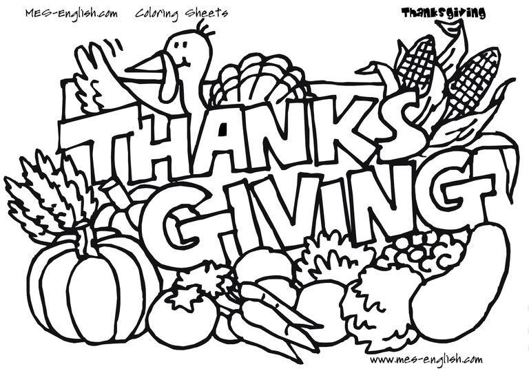 MES English Thanksgiving Coloring Pages A Turkey And Vegetables With The Phrase