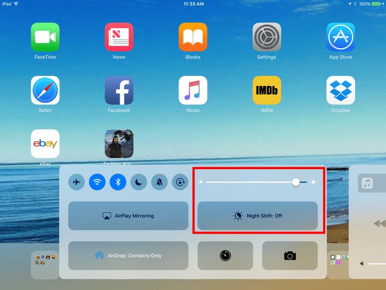 The iPad control panel