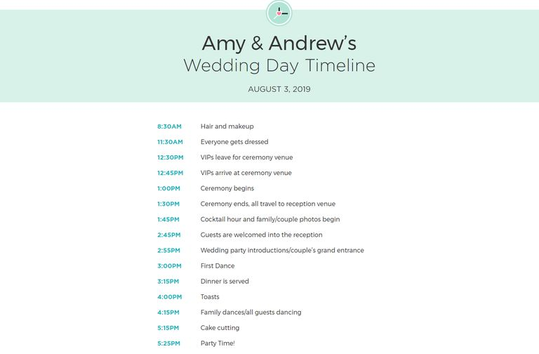 Free wedding itinerary templates and timelines a customized printable wedding itinerary junglespirit Images