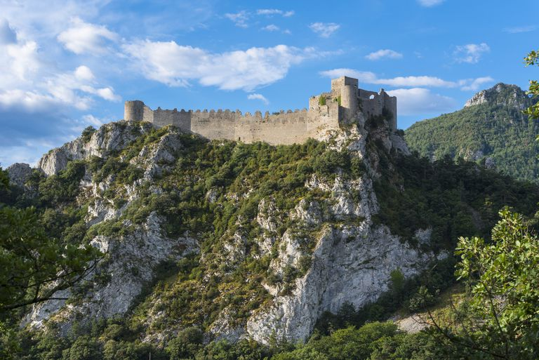 France, Aude, Cathare Country, Puilaurens, the Cathare castle of Puilaurens stands on a rocky outcrop