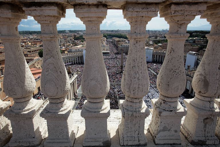 St. Peter's Square, Vatican City, Vatican, seen through the Balustrade atop the Basilica