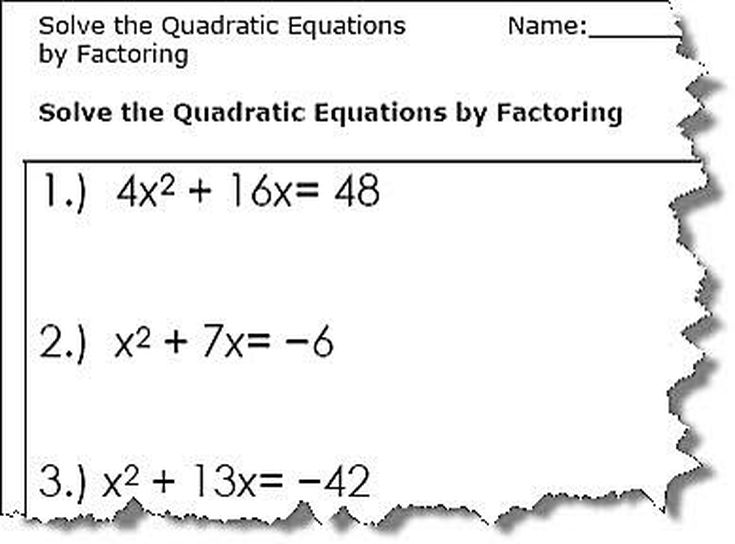 Use the Quadratic Formula to solve the equations Quadratic – Quadratic Formula Worksheet