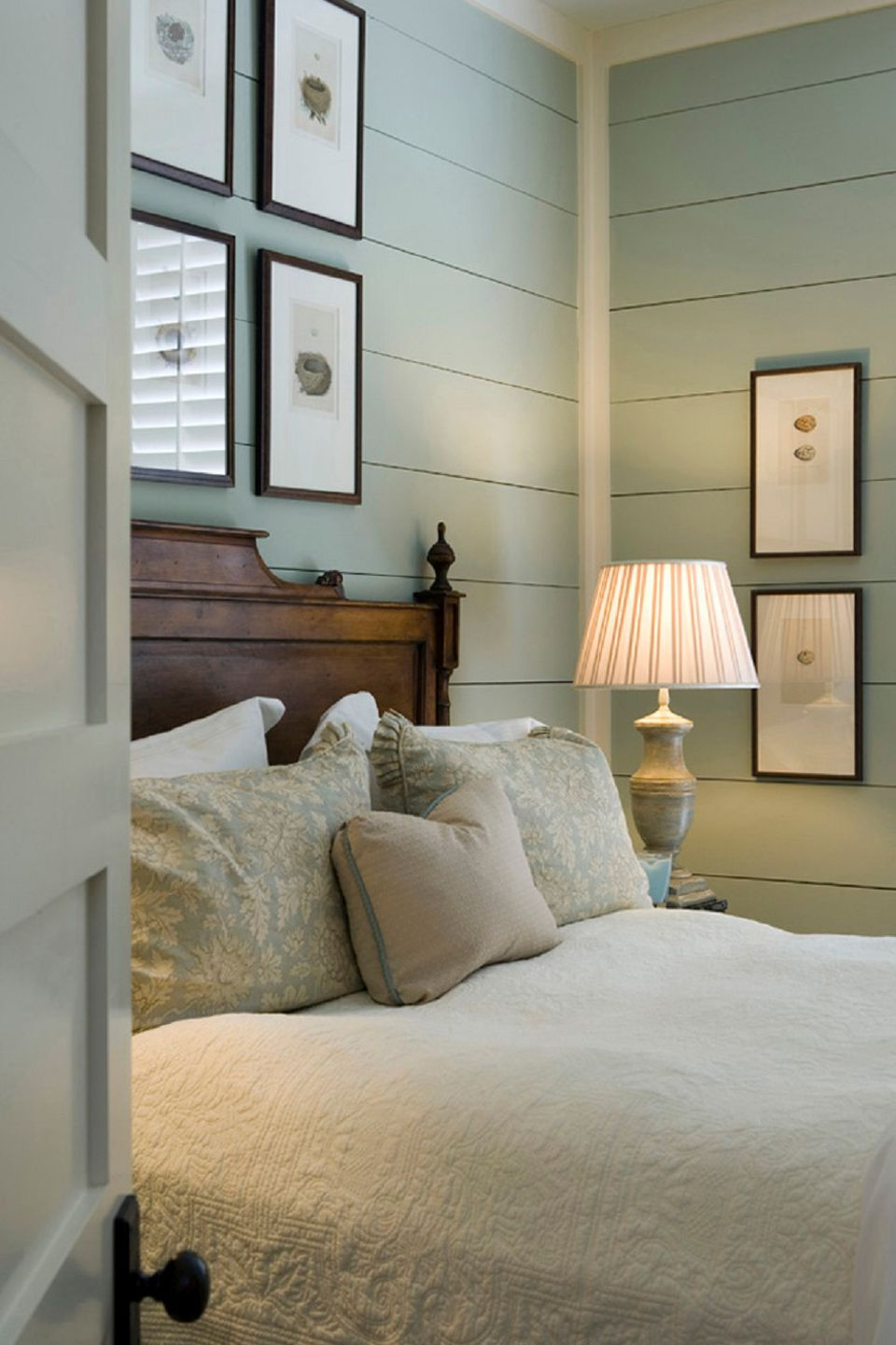 Bedroom with shiplap walls