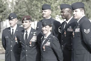 First six USAF airmen to receive the Air Force Combat Action Medal