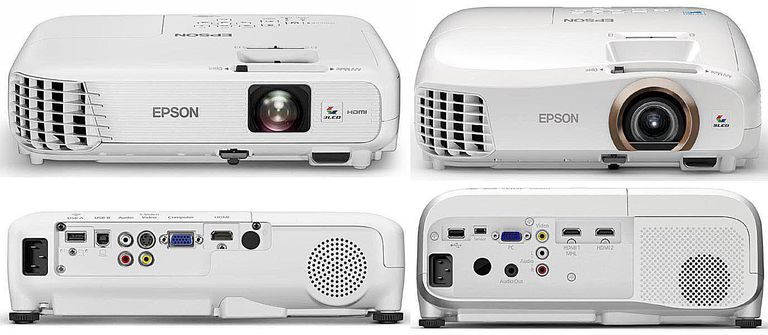 Epson PowerLite Home Cinema 740HD (left) and 2045 (right) - Not To Scale