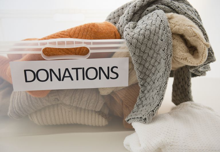 clothes in donation box