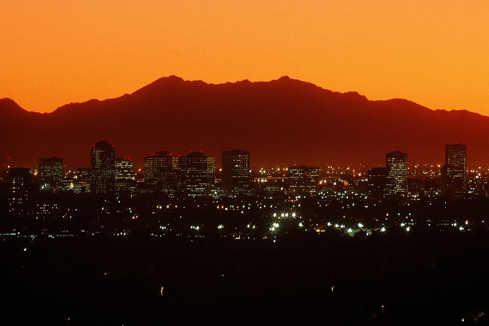 Night view of Central Avenue, Phoenix, AZ