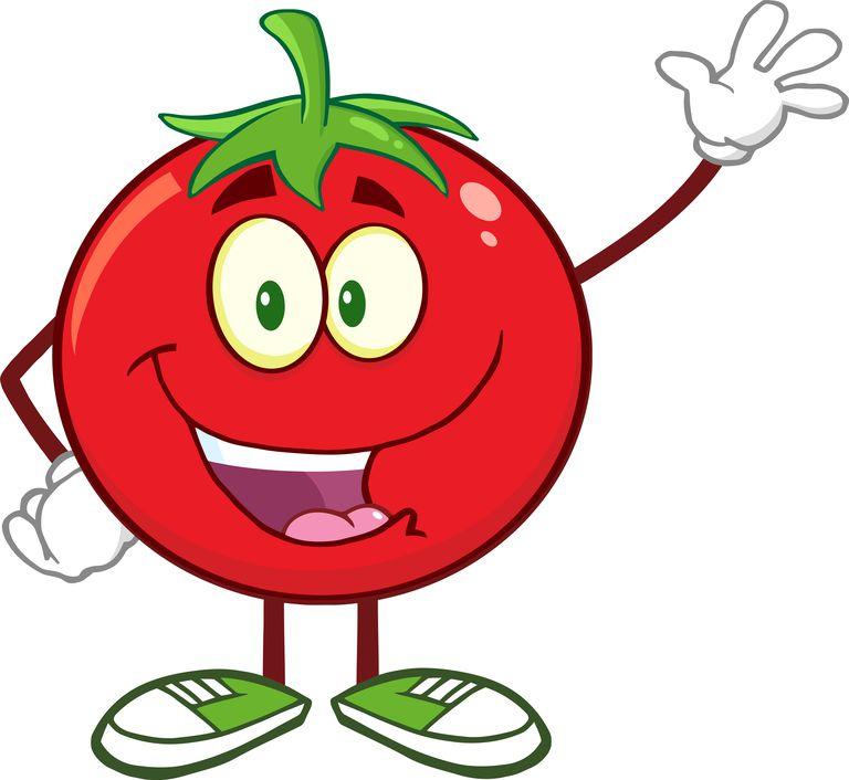 Happy Tomato Cartoon Mascot Character Waving