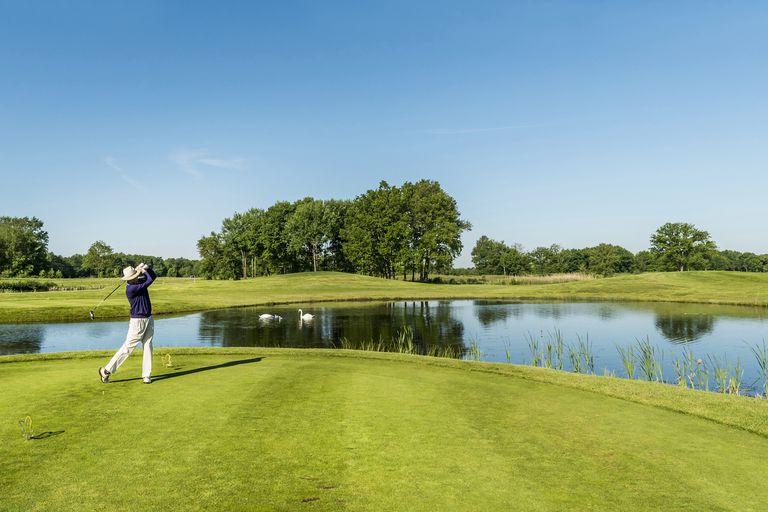 Golfer teeing off, Winsen, Schleswig-Holstein, Germany