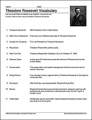 Theodore Roosevelt Vocabulary Study Sheet