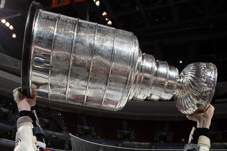The Stanley Cup with winners' names engraved