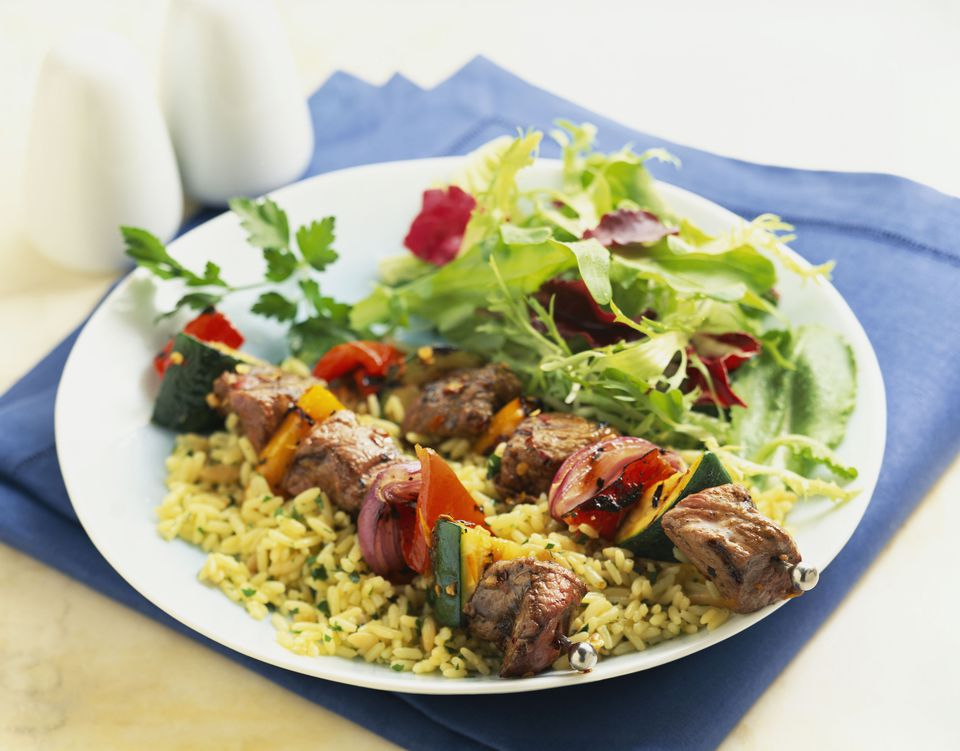 Beef Shish Kebab on a plate with rice and salad