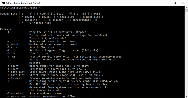 Screenshot of the ping command in Windows 10