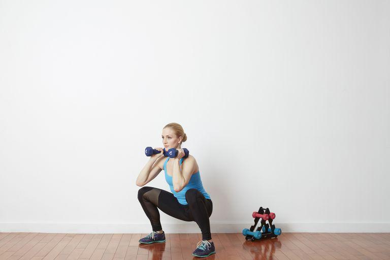 squat with dumbells